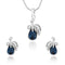 Mahi Rhodium Plated Montana Blue berry Marquise Pendant Set Made with Swarovski Crystal for Women