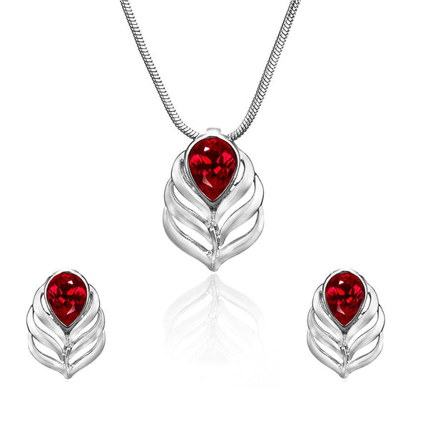 Mahi Rhodium Plated Red Drop Peacock Feather Pendant Set Made with Swarovski Crystal for Women