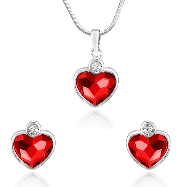 Mahi Rhodium Plated Red Heart Pendant Set Made with Swarovski Crystal for Women