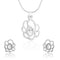 Mahi Rhodium Plated White Oval Floral Pendant Set Made with Swarovski Crystal for Women