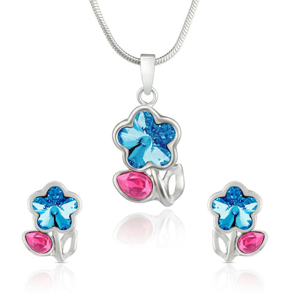 Mahi Rhodium Plated Pink Drop and Blue Floral Pendant Set Made with Swarovski Crystal for Women