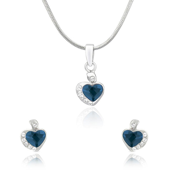 Mahi Rhodium Plated Blue and White Heart Pendant Set Made with Swarovski Crystal for Women