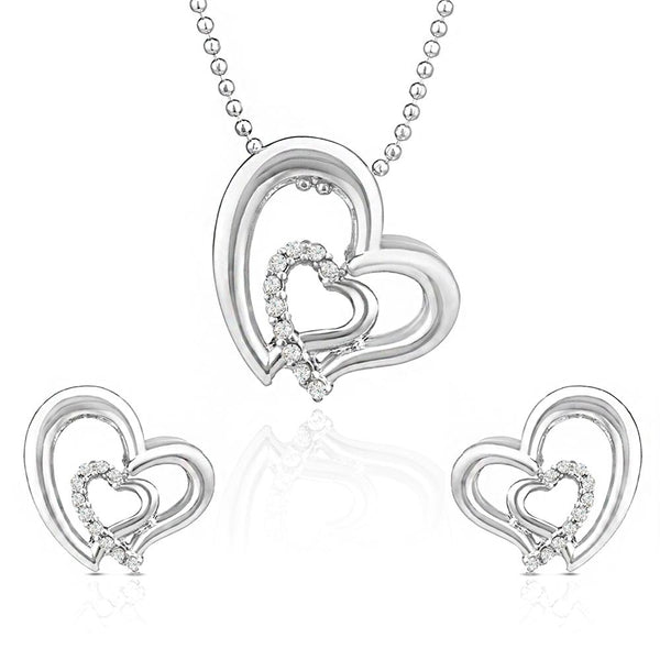 Mahi Rhodium Plated White Heart Pendant Set Made with Swarovski Crystal for Women