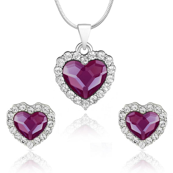 Mahi Rhodium Plated Purple Titanic Heart Pendant Set Made with Swarovski Crystal for Women