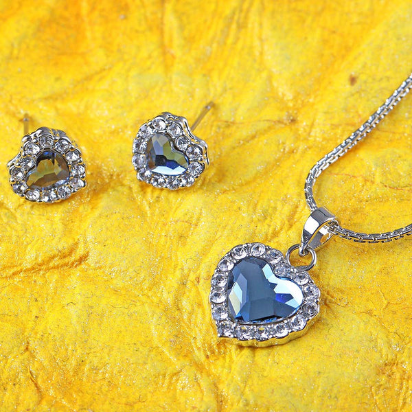 Mahi Rhodium Plated Montana Blue Titanic Heart Pendant Set Made with Swarovski Crystal for Women