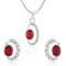 Mahi Rhodium plated Shimmering Double Ellipse Pendant Set Made with Swarovski Crystal for Women