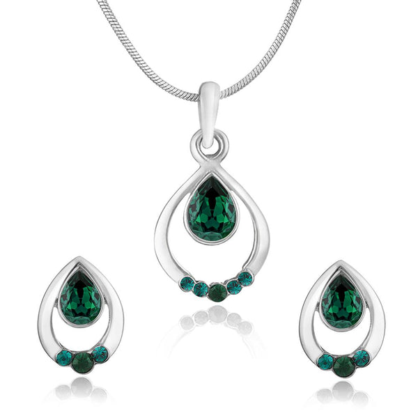 Mahi Rhodium plated Pretty Green Drop Pendant Set Made with Swarovski Crystal for Women