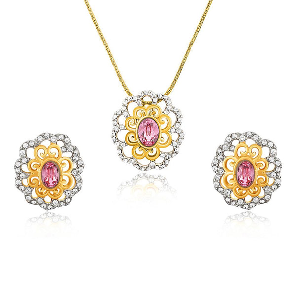 Mahi Gold plated Pink Paradise Flower Pendant Set Made with Swarovski Crystal for Women
