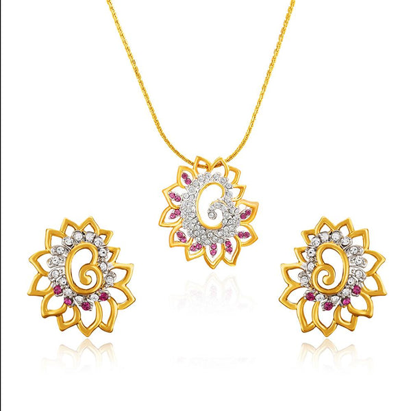 Mahi Gold plated Pink Shimmering Dahlia Flower Pendant Set Made with Swarovski Crystal for Women
