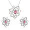 Mahi Rhodium plated Pink Rose Flower Pendant Set Made with Swarovski Crystal for Women