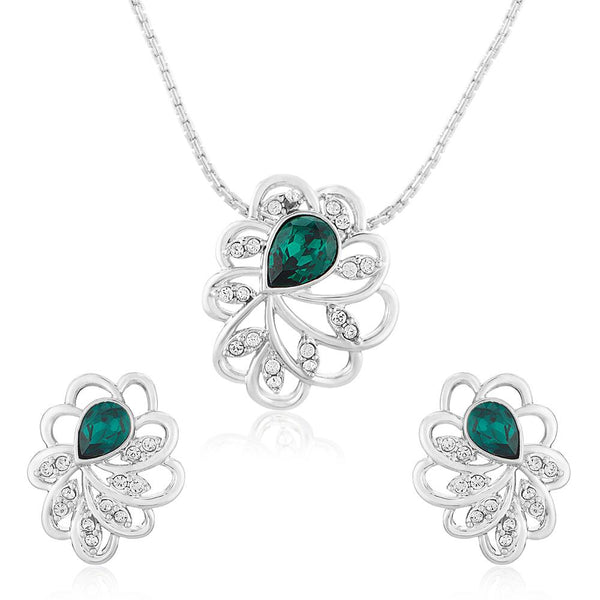 Mahi Rhodium plated Green Marigold Flower Pendant Set Made with Swarovski Crystal for Women