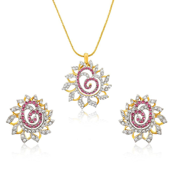 Mahi Valentine Love Gold plated Pink Dahlia Flower Pendant Set Made with Swarovski Crystal for Women