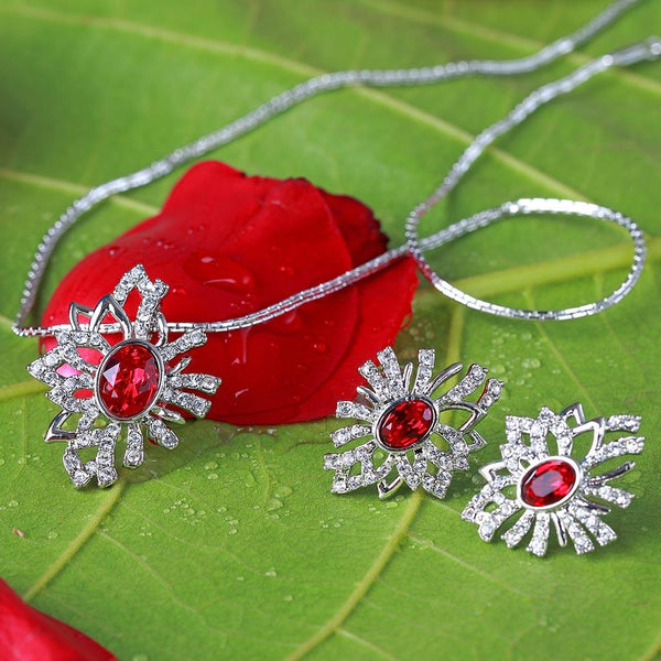 Mahi Rhodium plated Red Aster Flower Pendant Set Made with Swarovski Crystal for Women