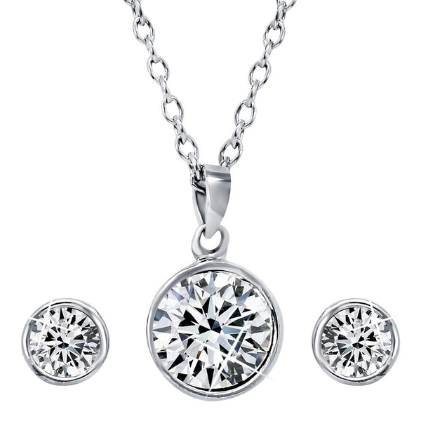 Mahi with Swarovski Crystal Rhodium Plated Solitaire Pendant Set For Women