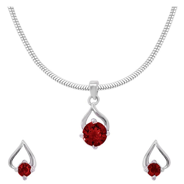 Mahi with Swarovski Crystal Red Drop Paisely Rhodium Plated Pendant Set for Women