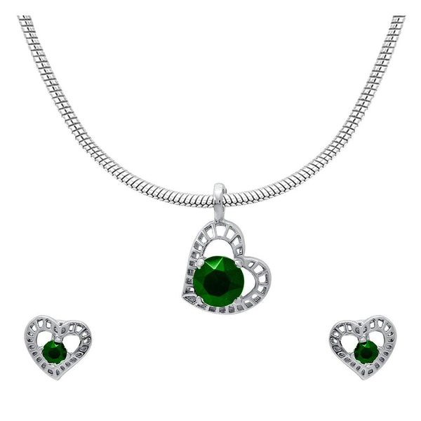 Mahi with Swarovski Crystal Green Stylized Heart Rhodium Plated Pendant Set for Women