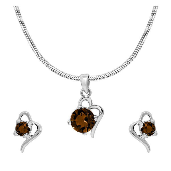 Mahi with Swarovski Crystal Brown Victorian Heart Rhodium Plated Pendant Set for Women