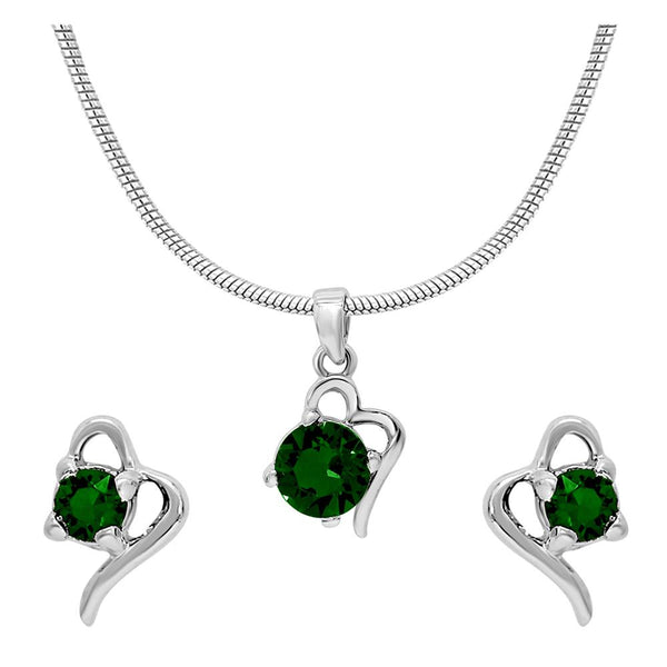 Mahi with Swarovski Crystal Green Victorian Heart Rhodium Plated Pendant Set for Women