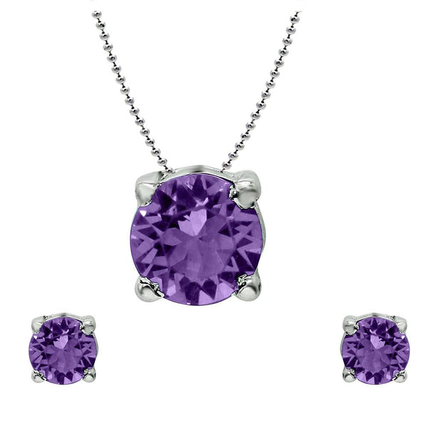 Mahi with Swarovski Crystal Violet Classic Solitaire Rhodium Plated Pendant Set for Women