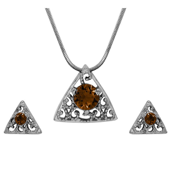 Mahi with Swarovski Crystal Brown Triangle Beauty Rhodium Plated Pendant Set for Women
