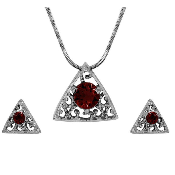 Mahi with Swarovski Crystal Red Triangle Beauty Rhodium Plated Pendant Set for Women
