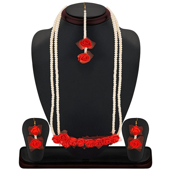 Mahi Exquisite Gotta Patti Red Floral Inspired Necklace Set With Artificial Pearl