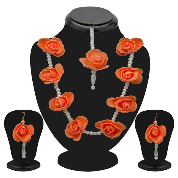 Mahi Blooming Rose Gotta Patti Pearl Necklace Set