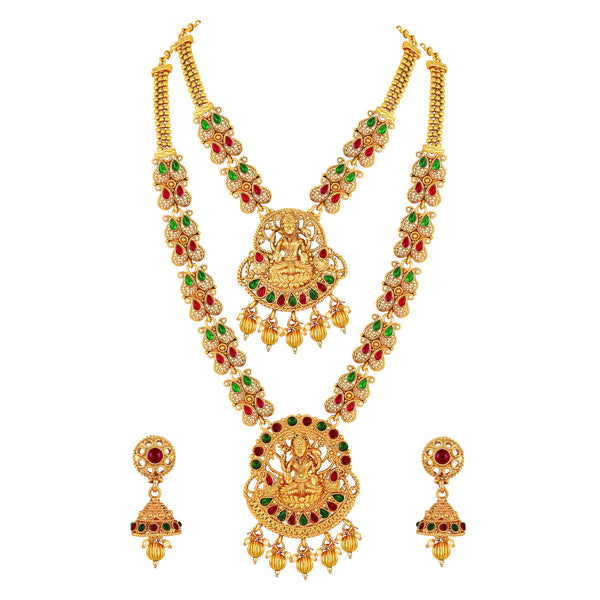 Asmitta Designer Laxmi High Gold Plated Red Green Stone Rope Style Necklace Set For Women