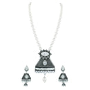 Asmitta Attractive Oxidised Silver Plated AD Necklace Set For Women