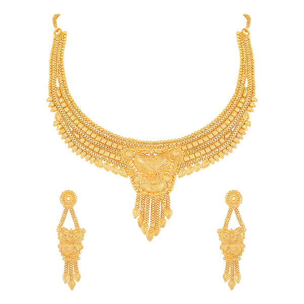 Asmitta Gold Plated Stones Choker Stylish Necklace Set -NS582AJGLDHH8