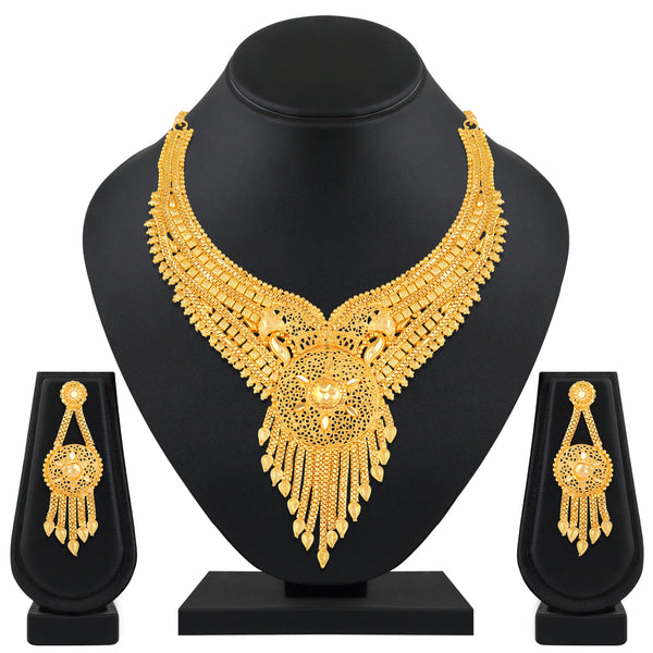 Asmitta Traditional One Gram High Gold plated Choker Necklace Set For Women