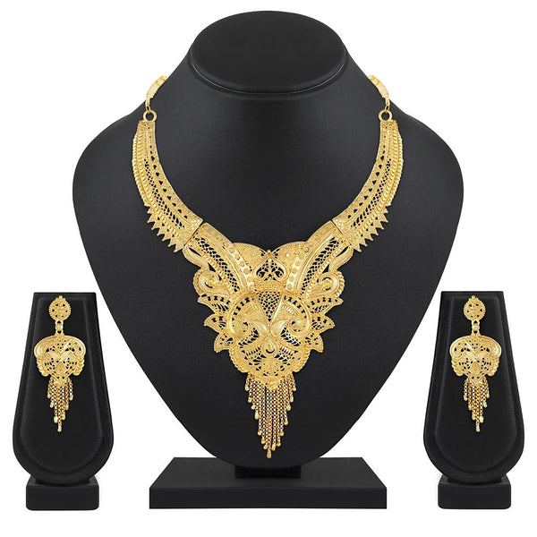 Asmitta Gold Plated Stones Choker Stylish Necklace Set -NS706DIGLDSI5