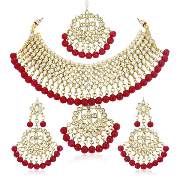 Asmitta Gold Plated Stones Choker Stylish Necklace Set -NS800JMGLDHI0