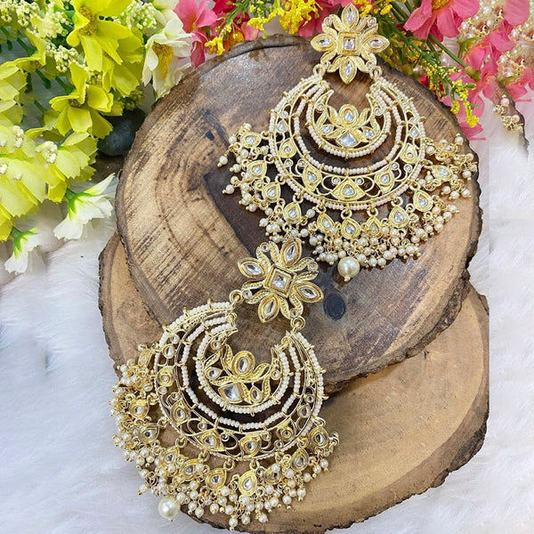 Om Creation  Gold Plated designer Pearl And Kundan Dangler Earrings  - OmEar111