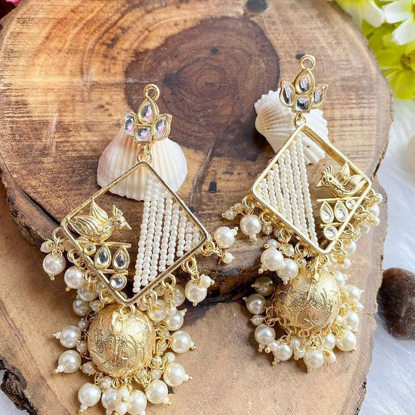 Om Creation Gold Plated designer Kundan And Pearl Dangler Earrings  - OmEar122