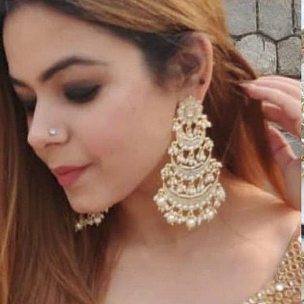 Om Creation Gold Plated designer Kundan And Pearl Dangler Earrings  - OmEar124