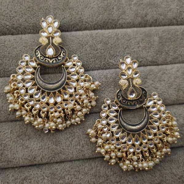 Om Creation Gold Plated Designer Kundan Dangler Earrings  - OmEar67