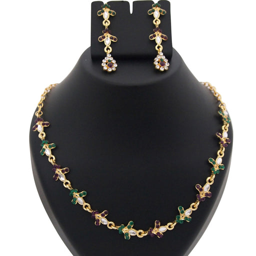 Kriaa Kundan Austrian Stone Gold Plated Necklace Set