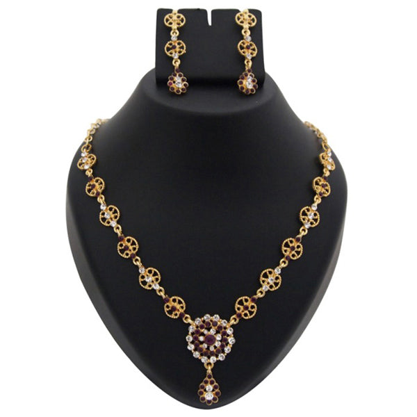 Kriaa Austrian Stone Floral Design Gold Plated Necklace Set