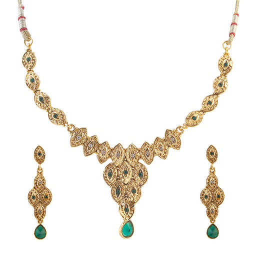 14Fashions Kundan Stone Gold Plated Necklace Set