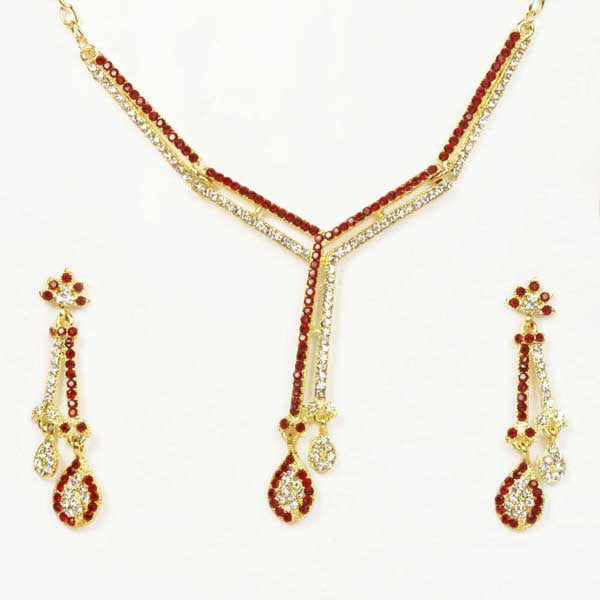 The99Jewel Gold Plated Maroon Austrian Stone Necklace Set