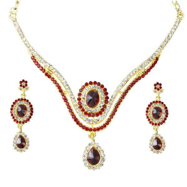 The99jewel Red  Stone Drop Gold Plated Necklace Set