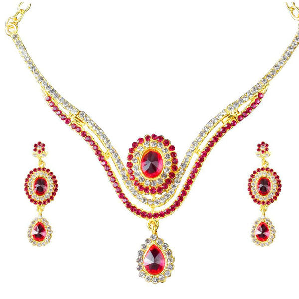 The99jewel Pink Austrian Stone Gold Plated Necklace Set