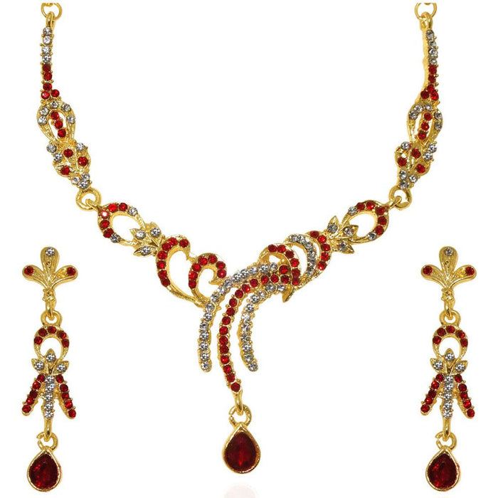 The99Jewel Red Austrian Stone Gold Plated Necklace Set
