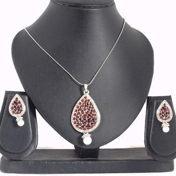 The99Jewel Silver Plated Austrian Stone Pendant Set