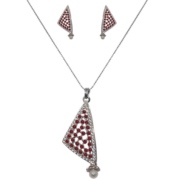 The99Jewel Maroon Austrian Stone Silver Plated Pendant Set
