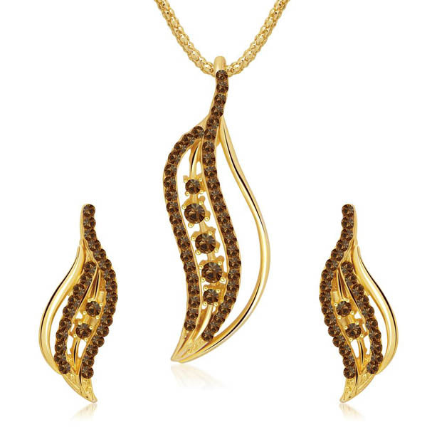 Kriaa Brown Austrian Stone Leaf Gold Plated Pendant Set