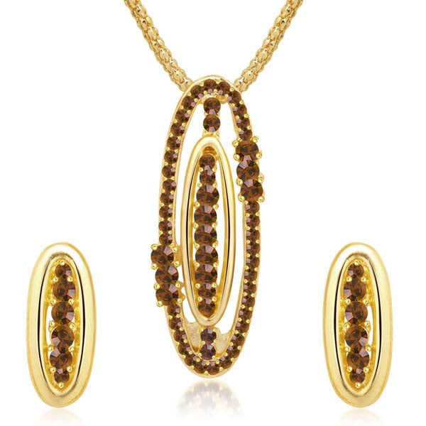 Kriaa Brown Austrian Stone Oval Gold Plated Pendant Set