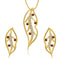 Kriaa Red Austrian Stone Leaf Gold Plated Pendant Set