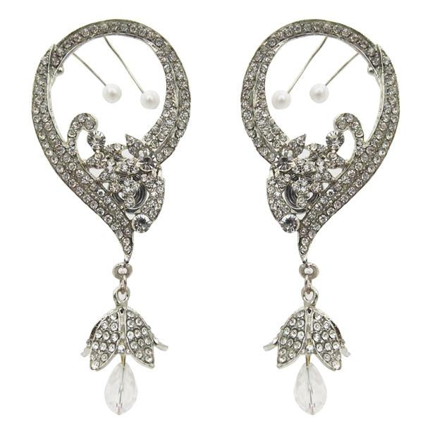 Kriaa Austrian Stone Rhodium Plated Ear Cuff Earrings